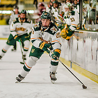 15 November 2015: University of Vermont Catamount Forward Brendan Bradley, a Junior from Warminster, PA, in second period action against the University of Massachusetts Minutemen at Gutterson Fieldhouse in Burlington, Vermont. The Minutemen rallied from a three goal deficit to tie the game 3-3 in their Hockey East matchup. Mandatory Credit: Ed Wolfstein Photo *** RAW (NEF) Image File Available ***