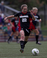 NC State defender Randi Soldat (22) dribbles. Boston College defeated North Carolina State,1-0, on Newton Campus Field, on October 23, 2011.