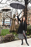 """Zizi Strallen unveils a Mary Poppins statue at the launch of """"Scenes in the Square"""" statue trail in Leicester Square, London.<br /> <br /> ©Ash Knotek  D3558 27/02/2020"""