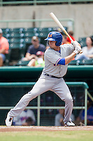Midland RockHounds outfielder Jaycob Brugman (9) at bat during the Texas League baseball game against the San Antonio Missions on June 28, 2015 at Nelson Wolff Stadium in San Antonio, Texas. The Missions defeated the RockHounds 7-2. (Andrew Woolley/Four Seam Images)