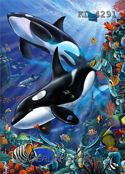 Interlitho, Lorenzo, FANTASY, paintings, 2 orcas, fish, KL, KL4291,#fantasy# illustrations, pinturas