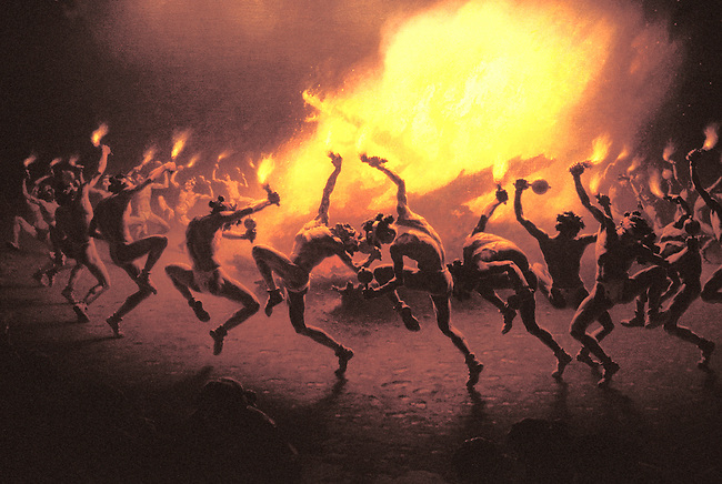 Historic painting by WW Leigh of a Navajo fire dance