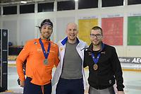 SPEEDSKATING: 15-02-2020, Utah Olympic Oval, ISU World Single Distances Speed Skating Championship, Podium 1000m Men, Kjeld Nuis (NED), Pavel Kulizhnikov (RUS), Laurent Dubreuil (CAN), ©photo Martin de Jong