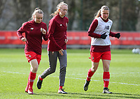 Gwyneth Vanaenrode (3) of Standard, Lisa Petry (21) of Standard and Aster Janssens (5) of Standard  pictured during the warm up before a female soccer game between Standard Femina de Liege and Sporting Charleroi on the 16th matchday of the 2020 - 2021 season of Belgian Scooore Womens Super League , saturday 13 th of February 2021  in Angleur , Belgium . PHOTO SPORTPIX.BE | SPP | SEVIL OKTEM