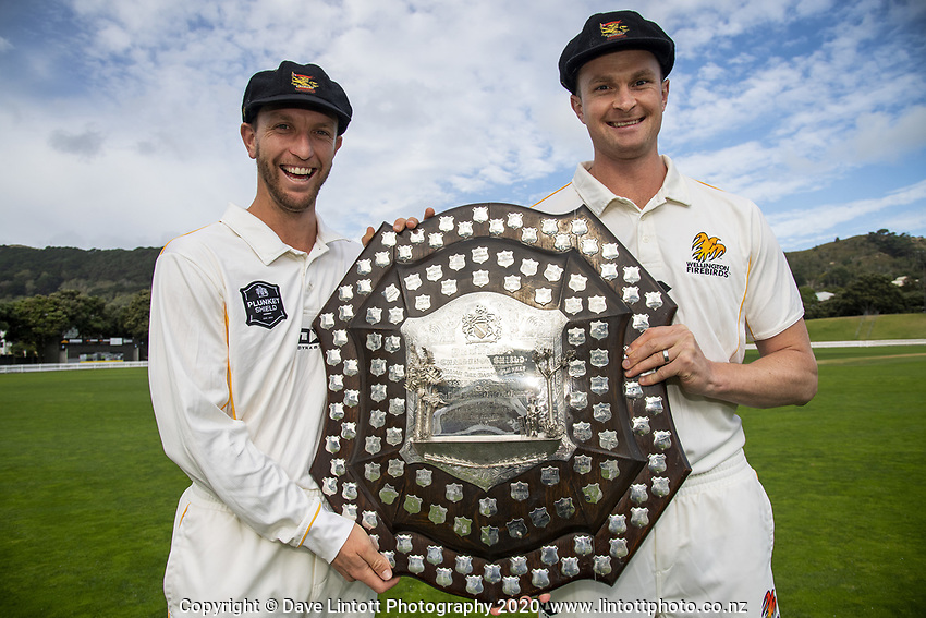 Fraser Colson and Ollie Newton. The Wellington Firebirds celebrate winning the 2019-2020 Plunket Shield at Basin Reserve in Wellington, New Zealand on Thursday, 19 March 2020. Photo: Dave Lintott / lintottphoto.co.nz