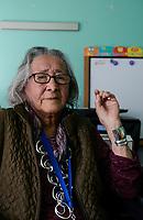 USA, Nebraska, Stadt Macy, Omaha Reservation, Schwester von Rudi Mitchell, Winona Carmony, 94 Jahre, indianischer Name Hawathay