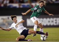 Megan Rapinoe of USA (L) and Dinora Garza of Mexico (R) during the semifinal match of CONCACAF Women's World Cup Qualifying tournament held at Estadio Quintana Roo in Cancun, Mexico. Mexico 2, USA 1.