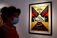 Exhibition '3 Decades of Dissent' of the urban artist Shepard Fairey at the modern art gallery of Rome.<br /> Rome (Italy), September 17th 2020<br /> Photo Samantha Zucchi Insidefoto