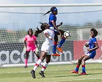 Bradenton, FL - Sunday, June 12, 2018: Teni Akindoju, Estericove Joseph prior to a U-17 Women's Championship 3rd place match between Canada and Haiti at IMG Academy. Canada defeated Haiti 2-1.
