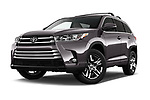 Stock pictures of low aggressive front three quarter view of 2018 Toyota Highlander Limited-Platinum 5 Door SUV Low Aggressive