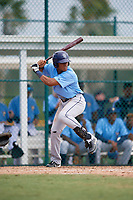 Tampa Bay Rays left fielder Pedro Diaz (92) at bat during an Instructional League game against the Pittsburgh Pirates on October 3, 2017 at Pirate City in Bradenton, Florida.  (Mike Janes/Four Seam Images)