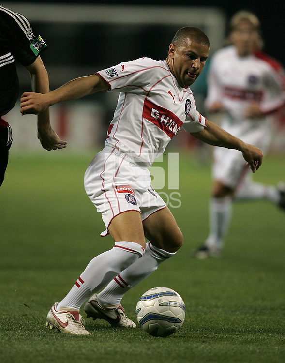 9 April 2005.   Chicago's Chris Armas (14) takes a touch on the ball at RFK Stadium in Washington, DC.