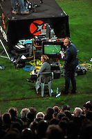 Skysport's Melodie Robinson and Jeff Wilson during the Super Rugby match between the Chiefs and Lions at Yarrow Stadium, New Plymouth, New Zealand on Saturday, 29 April 2016. Photo: Dave Lintott / lintottphoto.co.nz