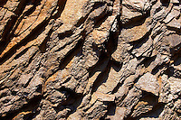close up textures and layers of Shale schists on the Island of Ios, Cyclades Islands, Greece