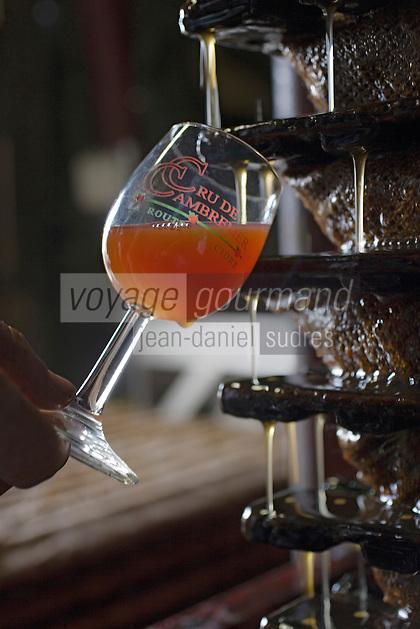 Europe/France/Normandie/Basse-Normandie/14/Calvados/Pays d'Auge/Saint-Laurent-du-Mont:  producteur de cidre du Pays d'Auge - travail au pressoir - dégustation - Verre de cidre