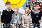 Twins Ciaran and Shane Brosnan with their grandparents Jim and Cathy Brosnan at the Grandparents Day in Scoil Nuachabháil on Friday