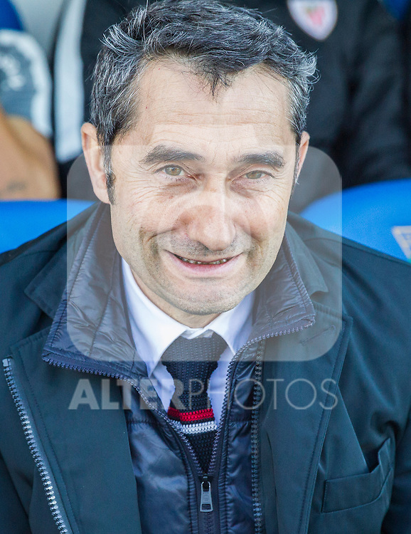 Atletic de Bilbao's coach Ernesto Valverde during the match of La Liga between Leganes and Athletic Club at Butarque Stadium  in Madrid , Spain. January  14, 2017. (ALTERPHOTOS/Rodrigo Jimenez)