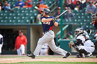 Toledo Mudhens first baseman Chad Huffman (17) at bat in front of catcher Carlos Paulino during a game against the Rochester Red Wings on June 12, 2016 at Frontier Field in Rochester, New York.  Rochester defeated Toledo 9-7.  (Mike Janes/Four Seam Images)