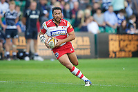 20120803 Copyright onEdition 2012©.Free for editorial use image, please credit: onEdition..Huia Edmonds of Gloucester Rugby in action against Sale Sharks  at The Recreation Ground, Bath in the Final round of The J.P. Morgan Asset Management Premiership Rugby 7s Series...The J.P. Morgan Asset Management Premiership Rugby 7s Series kicked off again for the third season on Friday 13th July at The Stoop, Twickenham with Pool B being played at Edgeley Park, Stockport on Friday, 20th July, Pool C at Kingsholm Gloucester on Thursday, 26th July and the Final being played at The Recreation Ground, Bath on Friday 3rd August. The innovative tournament, which involves all 12 Premiership Rugby clubs, offers a fantastic platform for some of the country's finest young athletes to be exposed to the excitement, pressures and skills required to compete at an elite level...The 12 Premiership Rugby clubs are divided into three groups for the tournament, with the winner and runner up of each regional event going through to the Final. There are six games each evening, with each match consisting of two 7 minute halves with a 2 minute break at half time...For additional images please go to: http://www.w-w-i.com/jp_morgan_premiership_sevens/..For press contacts contact: Beth Begg at brandRapport on D: +44 (0)20 7932 5813 M: +44 (0)7900 88231 E: BBegg@brand-rapport.com..If you require a higher resolution image or you have any other onEdition photographic enquiries, please contact onEdition on 0845 900 2 900 or email info@onEdition.com.This image is copyright the onEdition 2012©..This image has been supplied by onEdition and must be credited onEdition. The author is asserting his full Moral rights in relation to the publication of this image. Rights for onward transmission of any image or file is not granted or implied. Changing or deleting Copyright information is illegal as specified in the Copyright, Design and Patents Act 1988. If you are in any way unsure of your right to publish this im