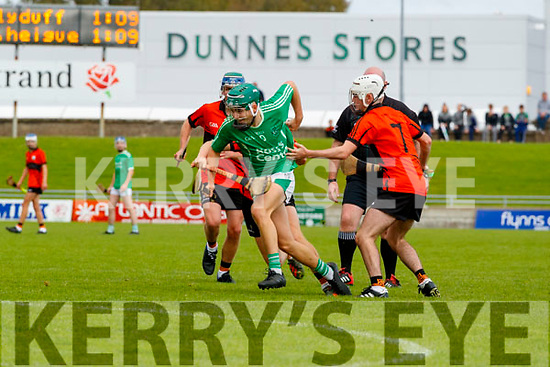 Kieran O'Carroll, Ballyduff, in action against Jordan Goggin, Ballyheigue,  during the Kerry County Minor Hurling Championship Final match between Ballyduff and Ballyheigue at Austin Stack Park in Tralee, Kerry.