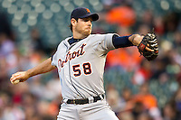 Detroit Tigers starting pitcher Doug Fister (58) delivers a pitch during the MLB baseball game against the Houston Astros on May 3, 2013 at Minute Maid Park in Houston, Texas. Detroit defeated Houston 4-3. (Andrew Woolley/Four Seam Images).