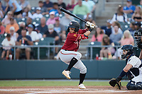 Ji-Hwan Bae (2) of the Altoona Curve at bat against the Somerset Patriots at TD Bank Ballpark on July 24, 2021, in Somerset NJ. (Brian Westerholt/Four Seam Images)