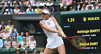 Harriet Dart (GBR) during her match against Ashleigh Barty (AUS) in their Ladies' Singles Third Round match<br /> <br /> <br /> Photographer Rob Newell/CameraSport<br /> <br /> Wimbledon Lawn Tennis Championships - Day 6 - Saturday 6th July 2019 -  All England Lawn Tennis and Croquet Club - Wimbledon - London - England<br /> <br /> World Copyright © 2019 CameraSport. All rights reserved. 43 Linden Ave. Countesthorpe. Leicester. England. LE8 5PG - Tel: +44 (0) 116 277 4147 - admin@camerasport.com - www.camerasport.com