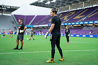 ORLANDO, FL - SEPTEMBER 11: Erin McLeod #1 of the Orlando Pride warming up before a game between Racing Louisville FC and Orlando Pride at Exploria Stadium on September 11, 2021 in Orlando, Florida.