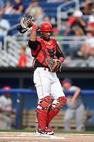Batavia Muckdogs catcher Joel Jimenez (5) during a game against the Auburn Doubledays on August 31, 2014 at Dwyer Stadium in Batavia, New York.  Batavia defeated Auburn 7-6.  (Mike Janes/Four Seam Images)