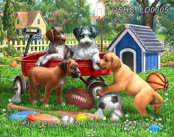 Liz,REALISTIC ANIMALS,puppies,dogs,sports, REALISTISCHE TIERE, ANIMALES REALISTICOS, LizDillon, paintings+++++,USHCLD0305,#A#, EVERYDAY