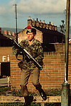Northern Ireland The Troubles 1980s The Troubles Northern Ireland 1981 British soldier on street parole.