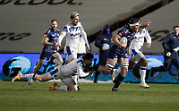 12th February 2021; AJ Bell Stadium, Salford, Lancashire, England; English Premiership Rugby, Sale Sharks versus Bath; Jono Ross (C) of Sale Sharks  is tackled by Ben Spencer of Bath Rugby