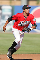 May 16, 2010: Juan Diaz of the High Desert Mavericks during game against the Stockton Ports at Mavericks Stadium in Adelanto,CA.  Photo by Larry Goren/Four Seam Images