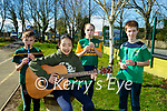 Conor Edwards, Lana O'Connor Seoladh Flynn and Ross Lally playing the tunes at Ballyfinnane NS St Patricks day celebrations in the school on Monday