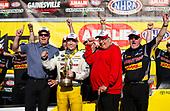 Richie Crampton, DHL, top fuel, victory, celebration, trophy, crew, staff