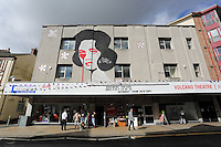 WORDS BY KARL WEST<br />Pictured: A mural on the fascia of the Volcano Theatre Friday 30 September 2016<br />Re: The regeneration of the High Street in Swansea, Wales, UK