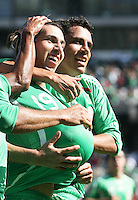 Luis Miguel Noriega (19) and Israel Martinez (right) celebrate Noriega's goal. Mexico defeated Nicaragua 2-0 during the First Round of the 2009 CONCACAF Gold Cup at the Oakland, Coliseum in Oakland, California on July 5, 2009.