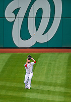 1 April 2013: Washington Nationals outfielder Jayson Werth in action during the Nationals' Opening Day Game against the Miami Marlins at Nationals Park in Washington, DC. The Nationals shut out the Marlins 2-0 to launch the 2013 season. Mandatory Credit: Ed Wolfstein Photo *** RAW (NEF) Image File Available ***