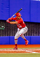 26 March 2018: St. Louis Cardinals outfielder Tommy Pham in action during an exhibition game against the Toronto Blue Jays at Olympic Stadium in Montreal, Quebec, Canada. The Cardinals defeated the Blue Jays 5-3 in the first of two MLB pre-season games in the former home of the Montreal Expos. Mandatory Credit: Ed Wolfstein Photo *** RAW (NEF) Image File Available ***