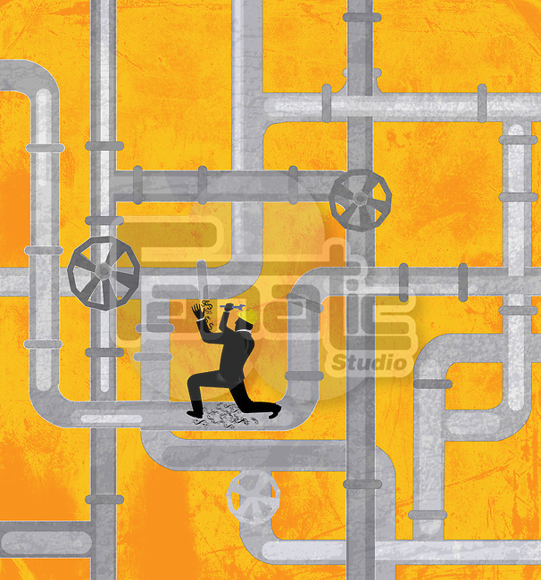 Conceptual illustration of plumber repairing drainage pipeline
