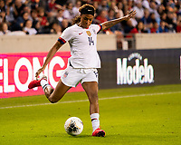 HOUSTON, TX - FEBRUARY 03: Jessica McDonald #14 of the USA crosses the ball during a game between Costa Rica and USWNT at BBVA Stadium on February 03, 2020 in Houston, Texas.