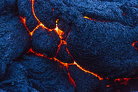 A close-up of the lava flow in Hawai'i Volcanoes National Park, Island of Hawai'i.