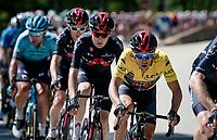 yellow jersey / GC leader Richie Porte (AUS/Ineos Grenadiers) escorted by his teammates<br /> <br /> 73rd Critérium du Dauphiné 2021 (2.UWT)<br /> Stage 8 (Final) from La Léchère-Les-Bains to Les Gets (147km)<br /> <br /> ©kramon