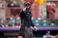 Umpire Matt Carlyon calls a strike during an Eastern League game between the Akron RubberDucks and Erie SeaWolves on June 2, 2019 at UPMC Park in Erie, Pennsylvania.  Akron defeated Erie 7-2 in the first game of a doubleheader.  (Mike Janes/Four Seam Images)