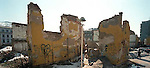 Snapcase graffiti on destroyed building.<br />