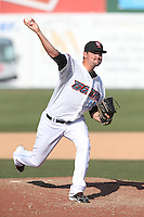 Ryan Estell (15) of the Inland Empire 66ers pitches during a game against the Lake Elsinore Storm at San Manuel Stadium on May 27, 2015 in San Bernardino, California. Lake Elsinore defeated Inland Empire, 12-9. (Larry Goren/Four Seam Images)