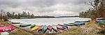 Eagles Mere Lake, PA. canoe platforms panorama in winter.