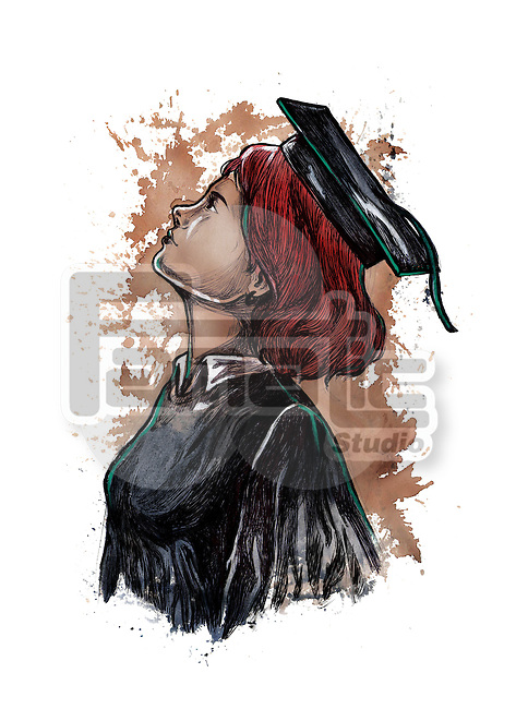 Illustrative image of woman in graduation gown looking up representing desire