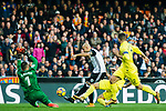 Goalkeeper Sergio Asenjo Andres of Villarreal CF (L) reaches for the ball after an attempt at goal by Simone Zaza of Valencia CF (C) during the La Liga 2017-18 match between Valencia CF and Villarreal CF at Estadio de Mestalla on 23 December 2017 in Valencia, Spain. Photo by Maria Jose Segovia Carmona / Power Sport Images