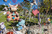 Oklahoma City, Oklahoma, USA.  OKC National Memorial Mementos on Fence.